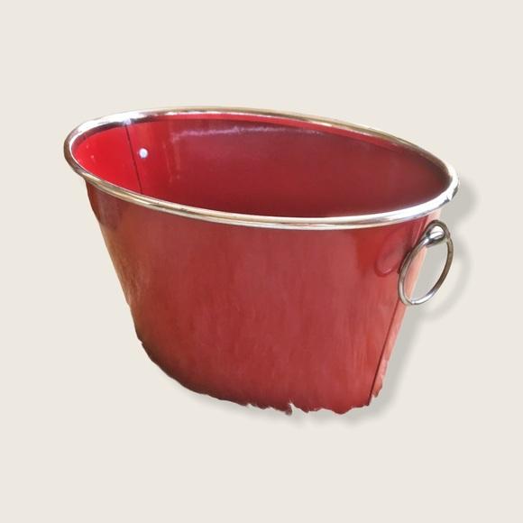 Vintage Decorative Red Aluminum Container